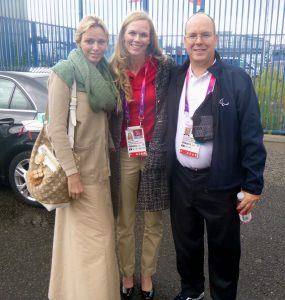 Katrina with HRH Prince Albert and HRH Princess Charlene at the London Paralympic Games 2012.